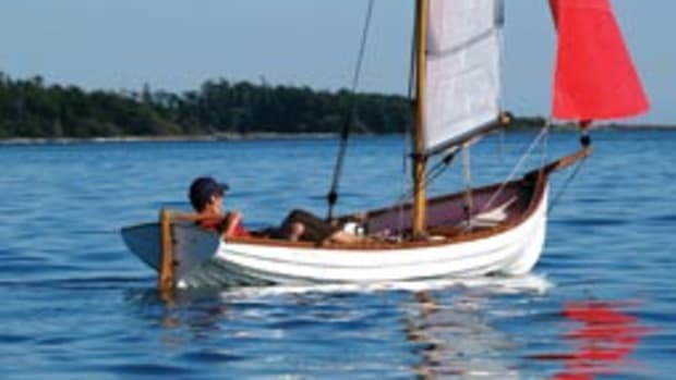 This Canadian-built Whitehall Spirit can be sailed or rowed.