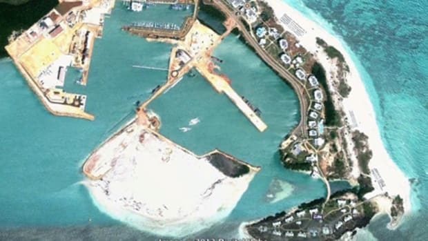 This is a satellite view of the construction of Marina Gaviota Varadero. Gaviota is a subsidiary of the Cuban military, which has partnered with foreign companies to build a billion-dollar resort complex at the tip of the Hicacos Peninsula, about a 90-minute drive east of Havana.