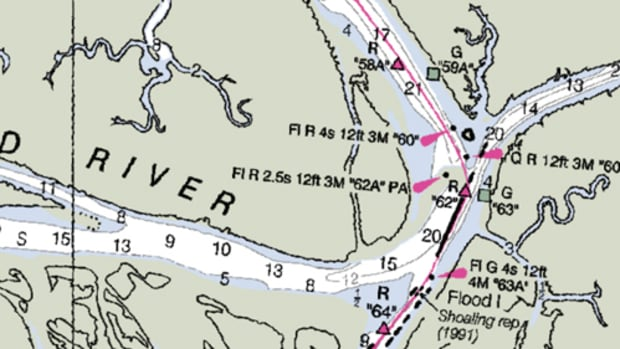"The ""best route"" on this NOAA chart for the Crooked River in Georgia suggests you cut two red marks and cross a mudbar."