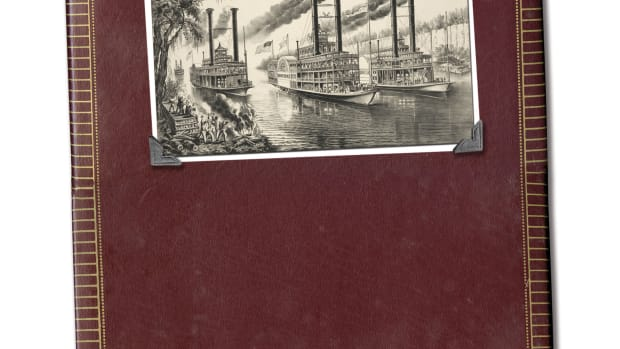Photo of drawing of steam boat race