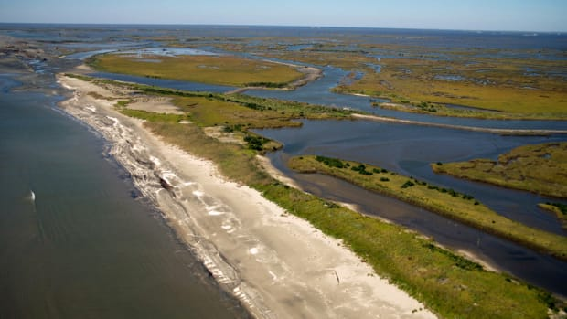 An aerial photo of a barrier island.