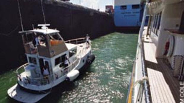 Ho'Okele enters the Gatun Locks, as seen from the deck of Continental Drifter II.