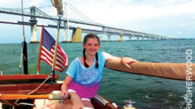 The Tripper's granddaughter, Claire, not only got the hang of sailing, but she caught on to the vernacular, as well.