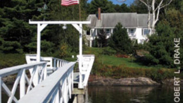 The three-bedroom cape has a dock with unobstructed access to the Sheepscot River and the Atlantic.