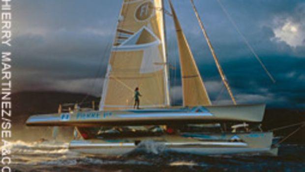 Florence Arthaud set a record when she won the 1990 Route du Rhum, sailing an Open 60 trimaran.