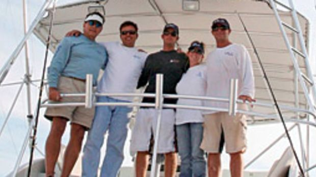 The team on Relentless set a single-boat record in winning the Islamorada Sailfish Tournament. Pictured, left to right, are Fenton Langston, Paul Ross, Jimmy Hendrix, and Debbie and Jimmy David.