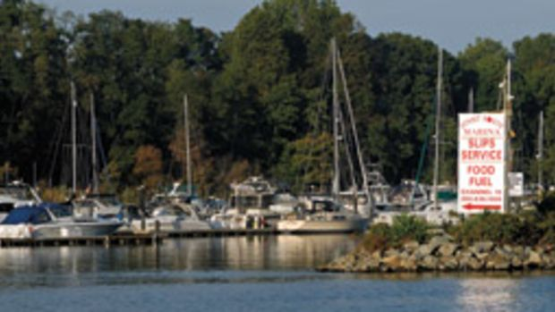 Fuel and an on-site restaurant attract cruisers to the Summit North Marina in Bear, Delaware.