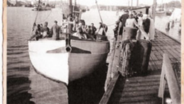 Shoving off - Astrid departs Gothenburg, Sweden, on July 5, 1948, with 29 Estonians on board for the long trip across the North Sea and the Atlantic to Newfoundland.