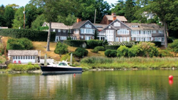 There are views of Southport Harbor from every room of this three-story, four-bedroom home in the Southport section of Fairfield, Connecticut.
