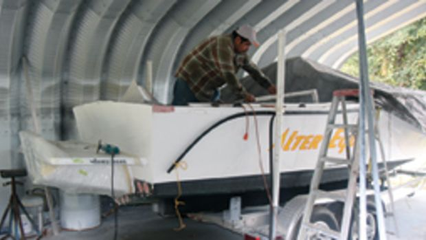 The refit of this Mako involved building a full-height transom to accept an engine bracket.
