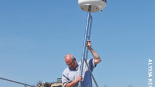 The writer fabricated a stainless mast for the radar installation on his Boston Whaler.