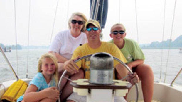 The Adey family aboard their Irwin ketch (from left): Abby, Lauri, John and Maggi