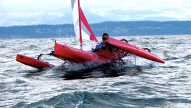 Roger Mann sailed a Hobie Mirage Adventure Island trimaran 750 miles from Port Townsend, Washington, to Ketchikan in the Race to Alaska.