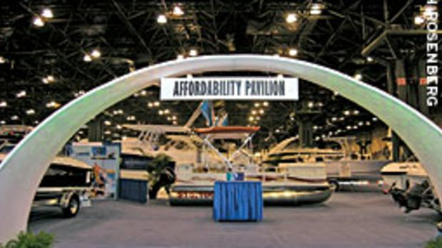 The Affordability Pavillion at the New York Boat Show displayed eight different models that could be financed for less than $250 a month.