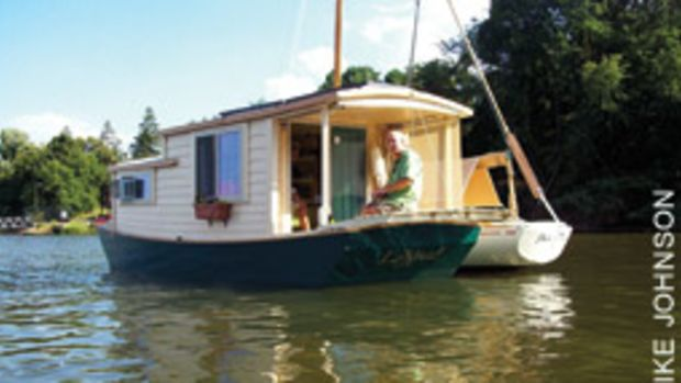 Joe Fernon is quite at home aboard Lilypad, the 20-foot shantyboat he built.