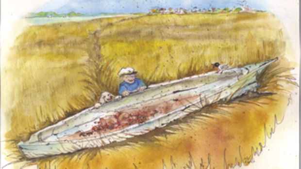 Rotting and ancient, a log canoe that revealed herself after a storm was treasure for a young boy.