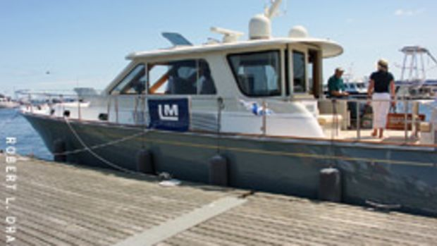 Lyman-Morse Boatbuilding Co.'s 54-foot twin jet Express Cruiser was one of the larger boats on display.