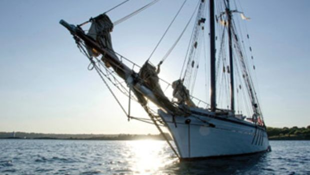 "The Harvey Gamage visited the bottom of the Bay this summer. The writer has been assigned ""port captain"" duties whenever the schooner puts in."