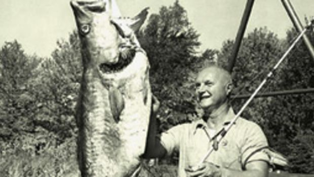 Alphonse Bielevich holds the world record for sport-caught cod with this 98-pound, 12-ounce fish boated June 8, 1969, off New Hampshire's Isles of Shoals.
