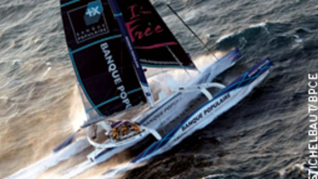 Brian Thompson's record run aboard the 131-foot maxi trimaran Banque Populaire V was his fourth non-stop racing circumnavigation.
