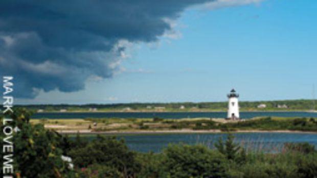 A summer front approaches the Edgartown Light.