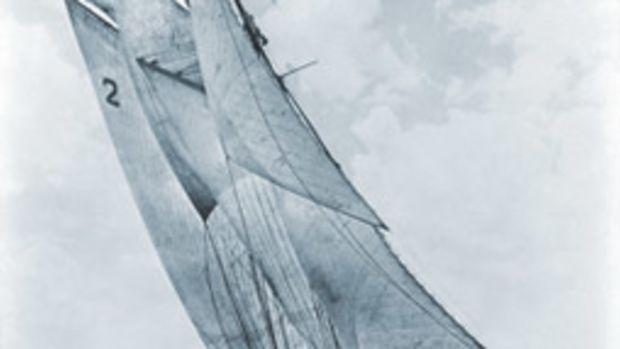 Bluenose under sail in 1938.