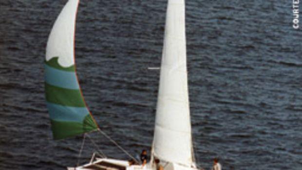 The author's father, bitten by the catamaran bug, built Bob Harris' Sunburner 27 design for family cruising.