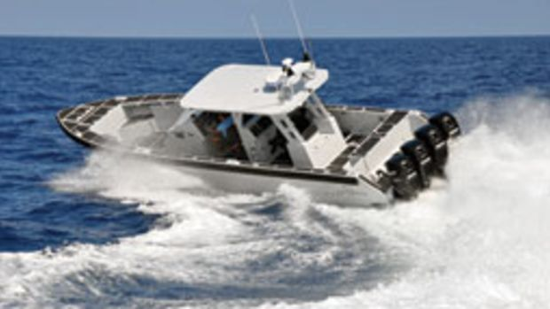 The Metal Shark Fearless 40 turned well at high speed when Sorensen was aboard it at the Multi-Agency Craft Conference.
