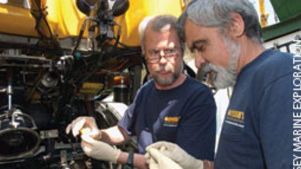 Odyssey Marine Exploration co-founder Greg Stemm (left) and project manager Tom Dettweiler