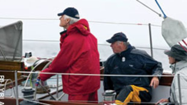 Ted Turner (at the helm) and Gary Jobson (sitting) reunited in late September aboard American Eagle for the 12 Meter North American Championships.