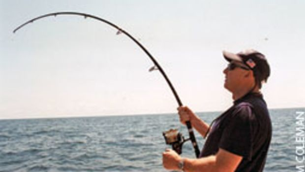 The heavier DLX 33 rod with a Penn 950SS can be used for a variety of fishing. Here, an angler battles a big amberjack on an artificial reef in Florida.