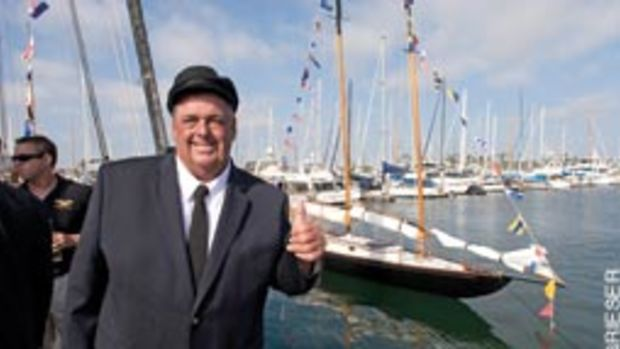A happy Dennis Conner at the launch of his 100-year-old gaff-rigged schooner, Fame.