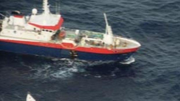 The French fishing vessel Ile de la Reunion comes to Sunderland's aid
