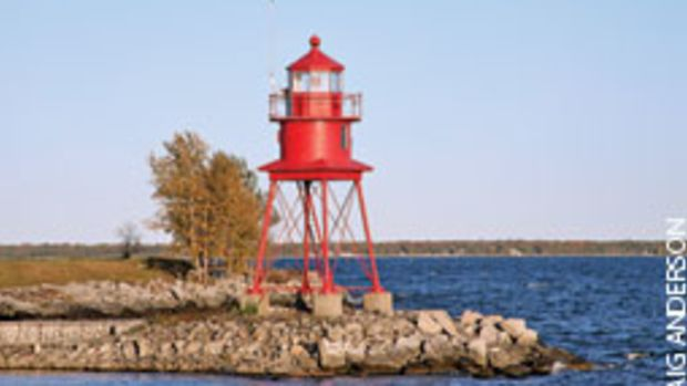 Alpena Light sits on the northern breakwater at the entrance to Thunder Bay River on Lake Huron.