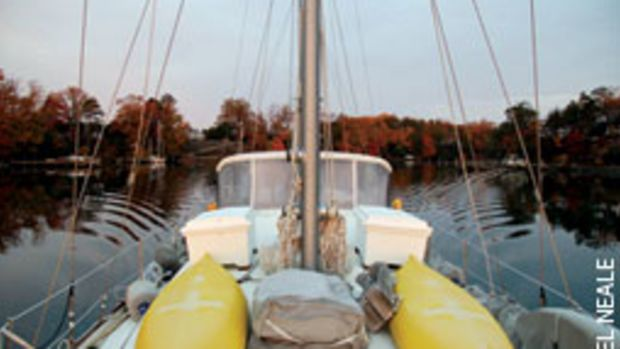 Tom's Gulfstar with four of his little boats aboard (kayaks, sailboard and inflatable bags).