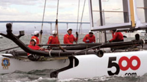 Former Chinese basketball star Ma Jian (center) trains in San Diego with the sailing team, which needs more money, better sails and more time on the boat to compete with the top teams.