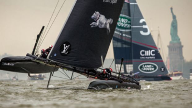 Land Rover BAR, seen in the background behind SoftBank Team, was the overall winner of the Louis Vuitton AC World Series qualifying races.