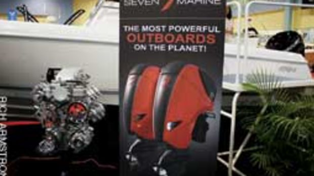 Seven Marine's outboard uses a marinized version of the small-block V-8 from Cadillac's CTS-V.
