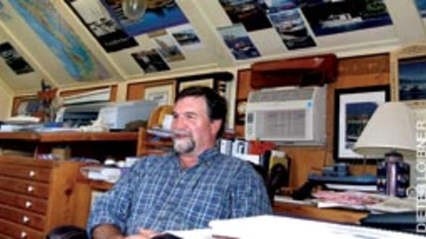 Devlin (here in his Olympia, Wash., office) says he builds boats with 'personality.'