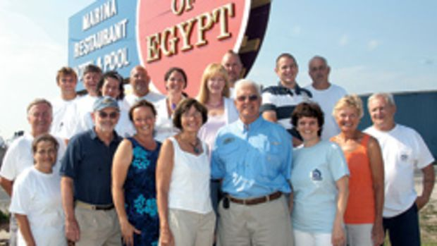 Brother-sister Bill Lieblein, CEO, and Elisa Ruroede, president, with the Port of Egypt crew.