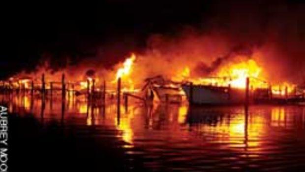 Twenty-six boats were destoyed when McCotters Marina in Washington, N.C., went up in flames.