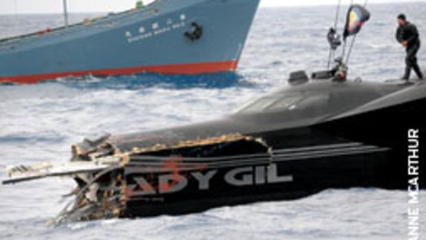 Ady Gil, the former Earthrace, sank two days after colliding with a whaling ship.