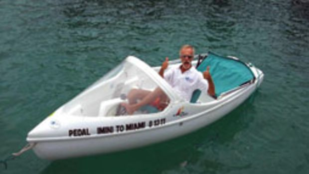 Bill Boes' attempt to pedal-boat across the Straits of Florida came up just 10 miles short.