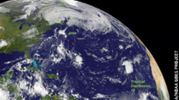 On Aug. 29, the remnants of Irene moved into Quebec while Tropical Storm Jose and Tropical Depression 12 spun through the Atlantic.