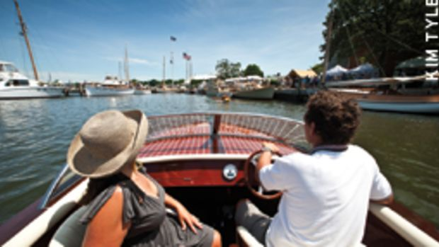 The boats that attend the WoodenBoat Show at Connecticut's Mystic Seaport, such as this Destino 20, aren't just for show.