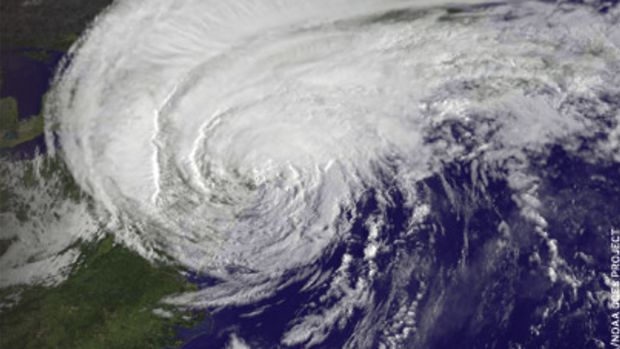 Hurricane Irene as it looked at 8:32 a.m. on Aug. 28, just 28 minutes before making landfall in New York City, according to NASA. Its huge cloud cover blanketed all of New England and beyond.