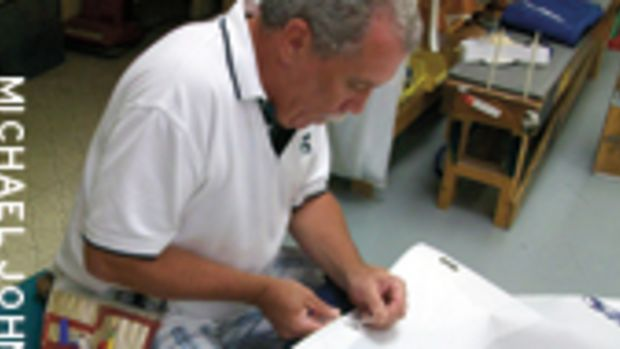 Bill Birmingham, of UK/Scott Allan Sailmakers, helped get the Bay Tripper back on the water.