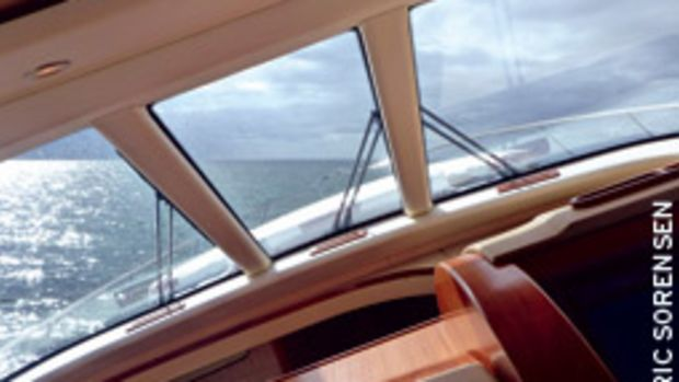 Running full speed and hard rudder aboard a 58-footer. If the boat is well balanced, it will heel in a turn so that you fall neither inboard nor outboard.