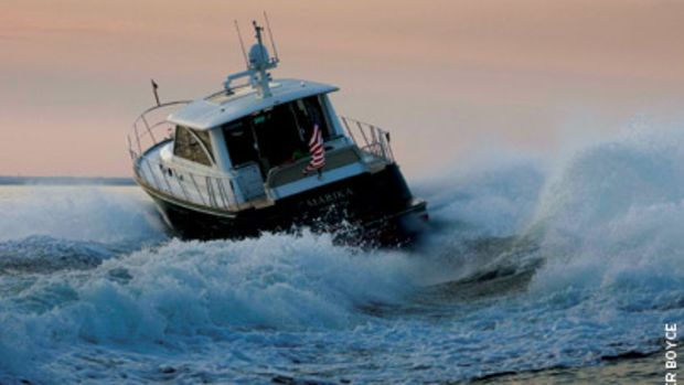 A Hunt 52 with Volvo Penta IPS propulsion and joystick control.