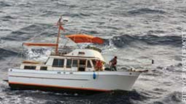 Wasafiri lost steerage in rough seas when the tow line to the dinghy fouled the prop and rudder.